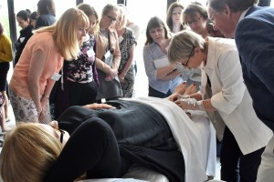 Julie Halford demonstrates microsclerotherapy