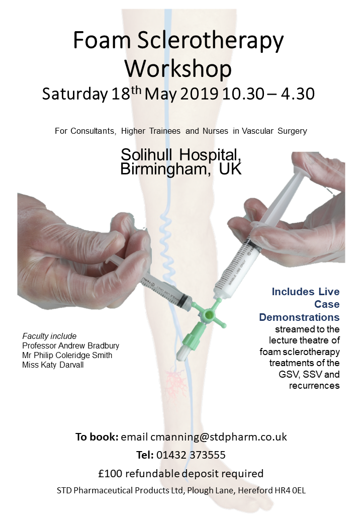 Poster for Foam sclerotherapy workshop 18th May 2019 at Solihull Hospital Birmingham